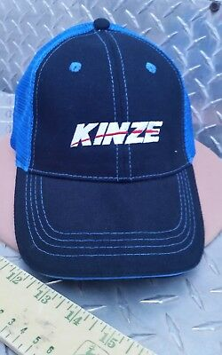 KINZE farm equip black twill & blue mesh Trademark Logo CAP HAT BRAND NEW nice!