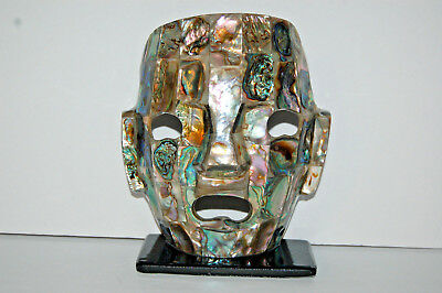 Mother of Pearl Shell Mask on stand, Death Mask
