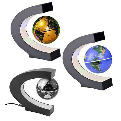 LED C Shape World Map Magnetic Levitation Floating Globe Light Home Decor 3Color