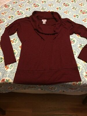 MOTHERHOOD MATERNITY burgundy COWL NECK TUNIC SWEATER size S