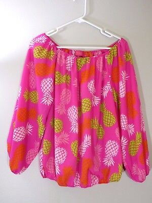 Macbeth Collection Women's Pineapple Gypsy Top Blouse Off the Shoulder Size L