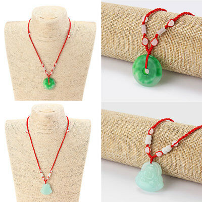Chinese Oriental Faux Green Jade Coin Buddha Pendant Necklace Gifts Idea