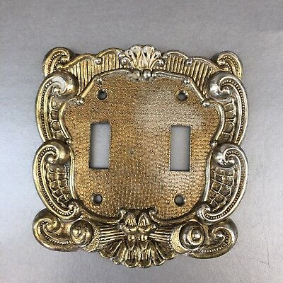 Vintage Amerock Decorative Metal Double Switch Plate Covers Brass MCM