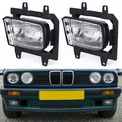 Pair Front Bumper Clear Plastic Fog Lights For BMW E30 318i 318is 325i 1985-1993