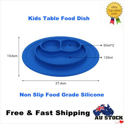 Silicone Baby Smile Placemat Divided Dish Bowl Plates Food Grade Silicone Blue