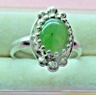 Sterling Silver 925  Handcrafted Natural Jade Stone Ring skaisSP17