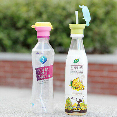 Children Portable Silicone Straw Spill Proof Juice Soda Water Bottle Twist Cover