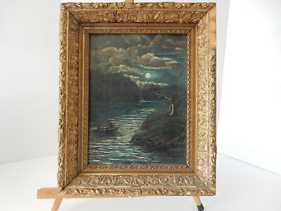 Antique Early Old  Victorian Nautical Moonlit Luminism Oil Painting Folk Art