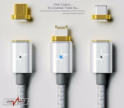 Magnetic Charger by ReVOLT (3-in-1, Lightning , Micro USB, Type-C)