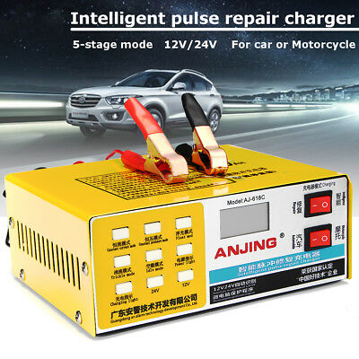 12V/24V Electric Car Battery Charger Smart Intelligent Pulse Repair Auto Dry Wet