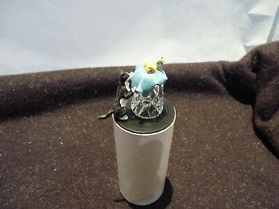 Collectable Sterling Classic Crystal Cat Mouse Thimble New