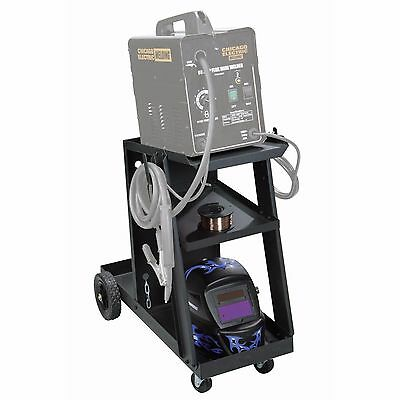 Mig Tig Welding Cart Portable Rolling 100 LB. Capacity Tilted Top Shelf  NEW