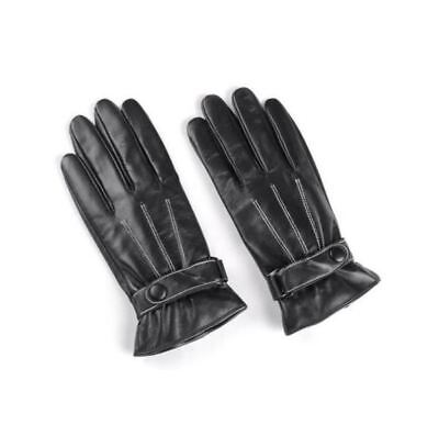 Unisex Luxurious Black PU Leather/Cotton Winter Motorcycle Riding Gloves