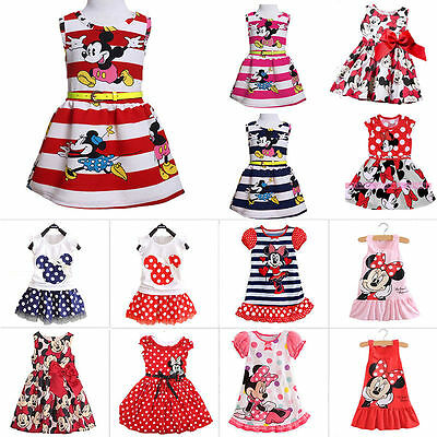 Toddler Kids Girls Minnie Mouse Party Princess Dress Cartoon Skirt Summer Outfit