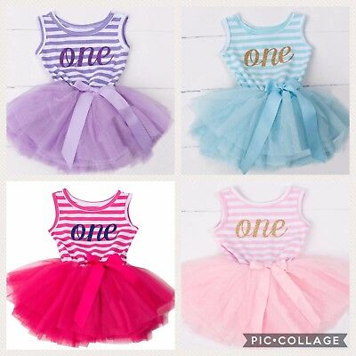 Baby Girls First 1st Birthday Dress Tutu Skirt Cake Smash Outfit One Party