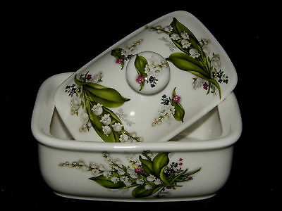 BN Lily of the Valley Floral Spray Bone China Butter dish,  China Butter dish