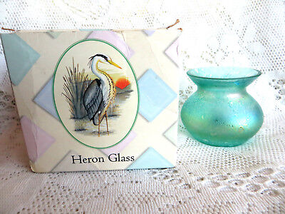 HERON GLASS TURQUOISE TEAL LUSTER LUSTRE VASE - BOXED- English Glass