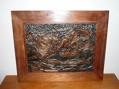 Vintage Aboriginal Mythical Hunting Scene On Hand Beaten Copper Signed Antoloji