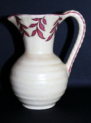Vintage Crown Ducal Cream Ceramic Handled Jug Charlotte Rhead Inspired C 1939-52