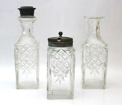 Antique Victorian Glass Cruet Set Includes Salt & Pepper Shakers & Mustard Pot