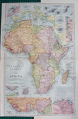 1901 Large Victorian  Map-Africa,canary Islands And Other Insets