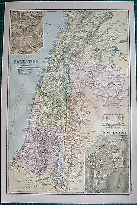 1901 Large Victorian  Map- Palestine,inset Jerusalem Environs And Plan