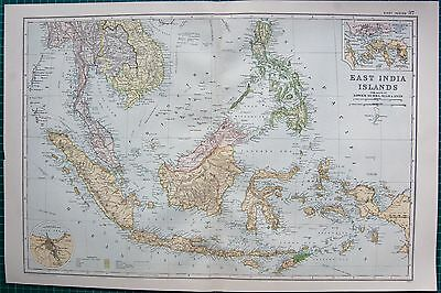 1901 Large Victorian  Map-East India Islands,parts Of Lower Burma,siam And Anam