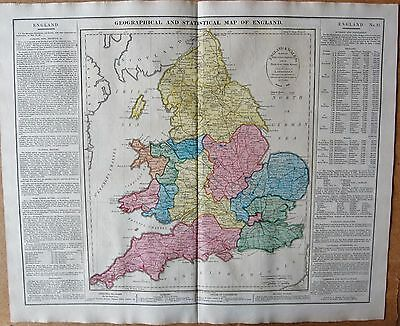 1829 Antique Map- Lavoisne-Geographical And Statistical Map Of England