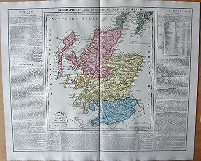 1829 Antique Map- Lavoisne-History-Geographical And Statistical Map Of Scotland