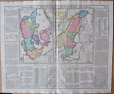1829 Antique Map- Lavoisne-History-Denmark Sweden And Norway