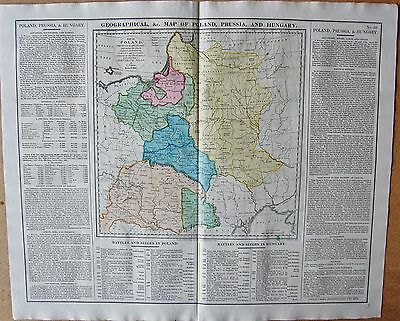 1829 ANTIQUE MAP- LAVOISNE-GEOGRAPHICAL &c MAP OF POLAND,PRUSSIA AND HUNGARY