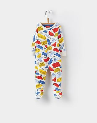 Joules Ziggy Babygrow in 100% Cotton in Multi-coloured Car hand-drawn Print