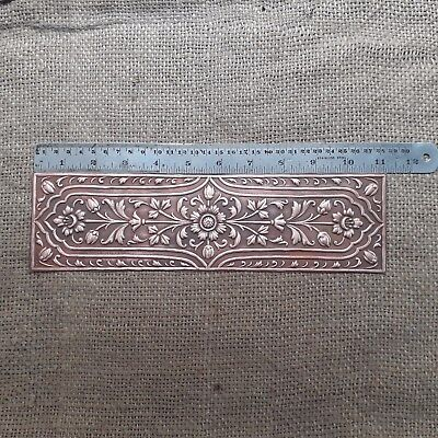 Vintage Copper Finger Plate Plates Door Push Handle Fine Embossed Floral Art