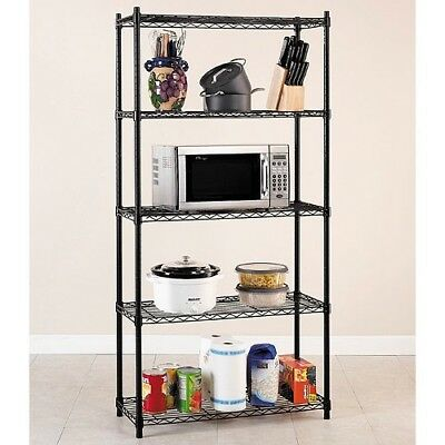 Home Storage Organizer Sturdy 5 Tier Shelving System with Adjustable Shelves New