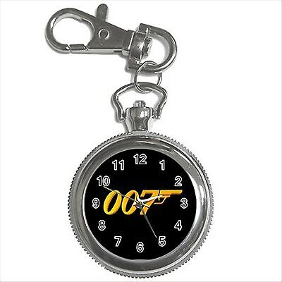 NEW* HOT JAMES BOND 007 GOLD LOGO Silver Color Tone Key Chain Ring Watch Gift