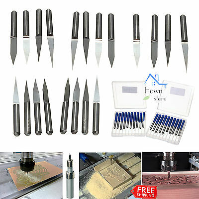 CNC Bit Carbide Tungsten Steel 10 15 20 30 Degree Engraving PCB Router Tool 20pc