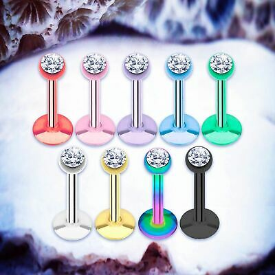 RAINBOW Gem Labret Stud Lip Bars Cartilage Earring Tragus Piercing Conch Ring UK