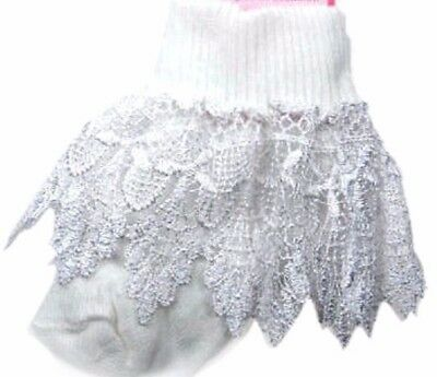 Baby Girl Frilly socks frill Christening Long Lace  IVORY or WHITE