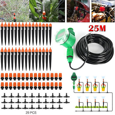 DIY 25m Dripper Plant Self Watering Garden Hose Micro Drip Irrigation System Kit