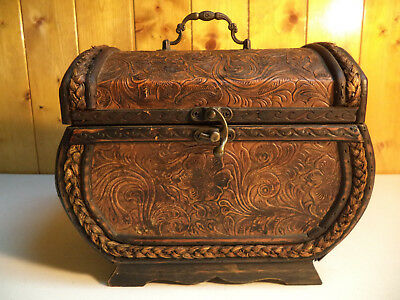 Antique Decorative LEATHER WICKER CARRYING CASE Rope Trim Metal Handle & Latch!!