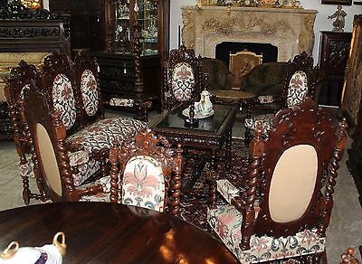 Antique French Carved Renaissance Revival 10 Piece Complete Salon Set Circa 1860