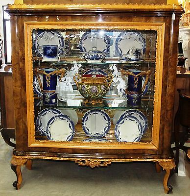 Antique Italian French Design Etched Glass China Curio Cabinet Circa 1920