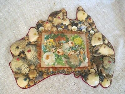 Antique Sailors Valentine Shell Art - Australia Shape Wall Plaque    ro