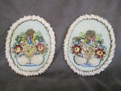 Antique Shell Art - 2 Oval Floral Bouquet Wall Plaques   ro