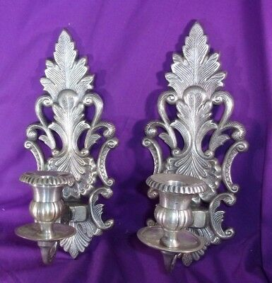 Pair (2) Ornate Wall Sconces Candle Holders Silver Burnished Heavy India