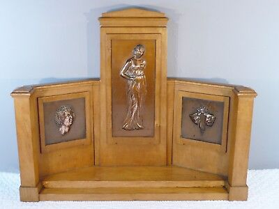 Art Deco 1930s Satinwood & Copper Stand with High Relief Theatrical Plaques Rare