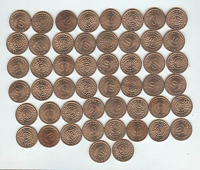 50 piece lot, Angola 1949 10 centavos, red uncirculated, REDUCED! 29 cents ea.