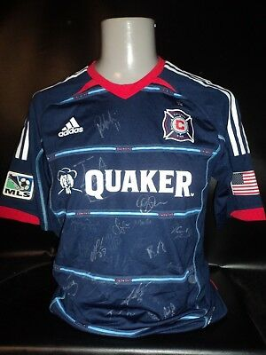 Chicago Fire player issue fully signed 2012-14 away shirt MLS adidas formotion
