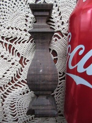 "Antique Carved Wood 4 1/2""Square Finial Spindle Furniture Salvage Walnut Piece J"
