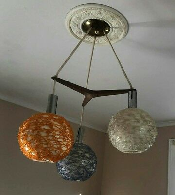 Superb Vintage Mid Century Modern Lucite Danish Chandelier Light